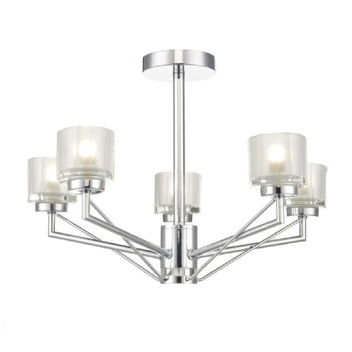 Hylo 5 Light Semi Flush Polished Chrome (Class 2 Double Insulated) BXHYL0550-17